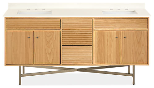 Adrian 72w 21.75d 34h Bathroom Vanity with Left & Right Side Overhang
