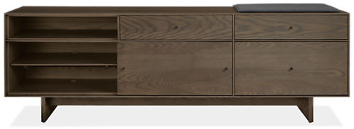 Hudson 80.25w 16.5d 24.5 Right-File Drawer Bench with Cushion and Wood Base