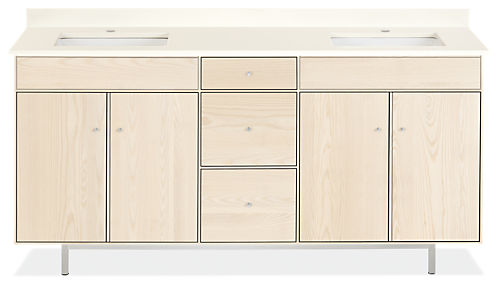 Hudson 72w 21.75d 34h Bathroom Vanity with Left & Right Side Overhang
