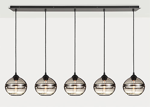 Banded Pendants with Rectangle Ceiling Plate - Set of Five