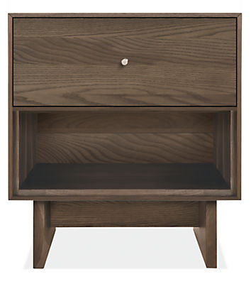 Hudson 20w 20d 22h One-Drawer Nightstand with Wood Base