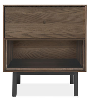 Hudson 20w 20d 22h One-Drawer Nightstand with Steel Base