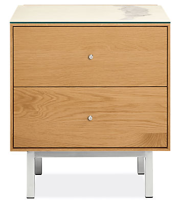 Hudson 20w 20d 22h Two-Drawer Nightstand with Steel Base