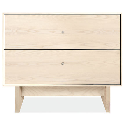 Hudson 26w 20d 22h Two-Drawer Nightstand with Wood Base