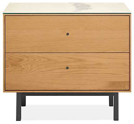 Hudson 26w 20d 22h Two-Drawer Nightstand with Steel Base