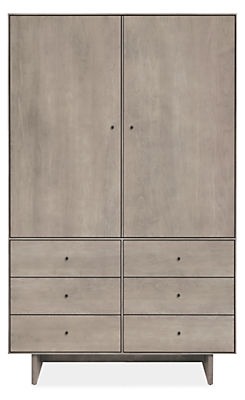 Hudson 44w 20d 71h Armoire with Wood Base