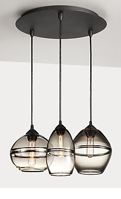 Banded Pendants with Round Ceiling Plate - Set of Three