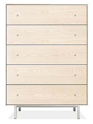 Hudson 36w 20d 51h Five-Drawer Dresser with Steel Base