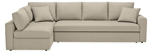 "Aldrich Custom 125"" Pop-up Sleeper Sofa with Left-Arm Storage Chaise"