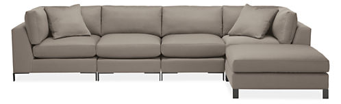 "Altura Custom 148x84"" Five-Piece Modular Sofa with Ottoman"