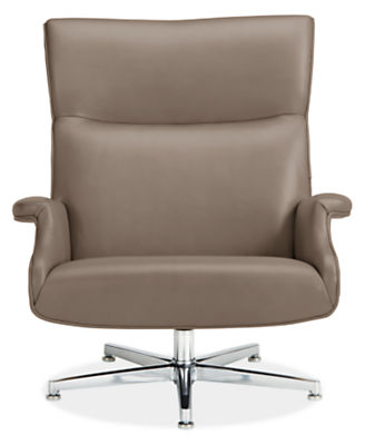 Beau Leather Chair & Ottoman with Aluminum Base in Lecco Leather ...