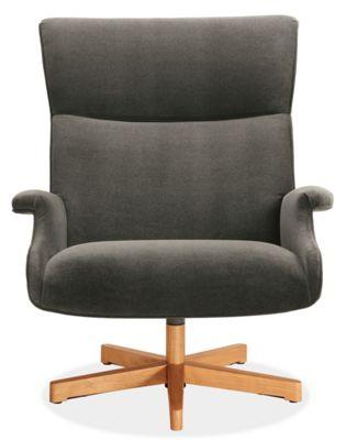 Beau Custom Swivel Chair with Wood Base