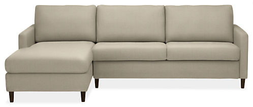 "Berin Custom Thin Arm High 110"" Queen Sleeper Sofa w/Left-Arm Chaise"