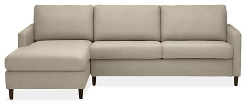 """Berin Custom Thin Arm High 110"""" Queen Sleeper Sofa w/Left-Arm Chaise"""