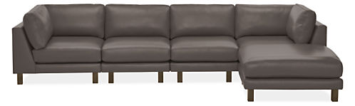 "Cade 142x80"" Five-Piece Modular Sofa with Ottoman"