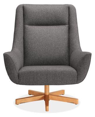 Charles Custom Swivel Chair with Wood Base