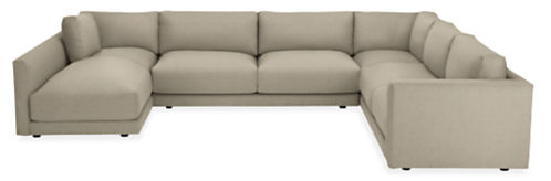 "Clemens Custom 140x104"" Four-Piece Sectional with Left-Arm Chaise"