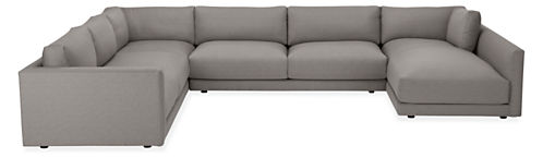 """Clemens Custom Extra Deep 164x125"""" Four-PC Sectional w/Right-Arm Chaise Fabric"""
