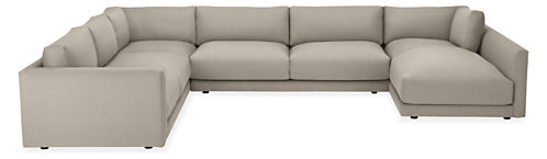 """Clemens Extra Deep 164x125"""" Four-PC Sectional w/Right-Arm Chaise"""