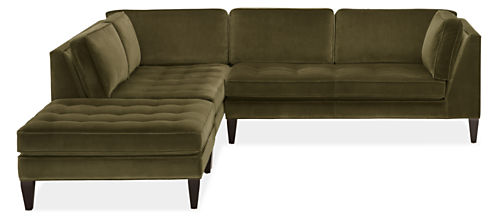 """Hutton Custom 110""""x106"""" Three-Piece Sectional with Right-Arm Sofa"""