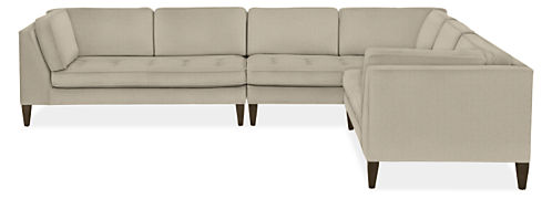 "Hutton Custom 140x110"" Three-Piece Sectional with Left-Arm Sofa"