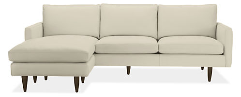 "Jasper Custom 96"" Sofa with Left-Arm Ottoman Chaise Leather"