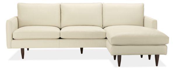 """Jasper Custom 96"""" Sofa with Left-Arm Ottoman Chaise Leather"""