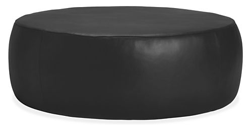 Rollover to ZoomView Larger - Lind Modern Round Leather Ottomans - Modern Ottomans & Footstools