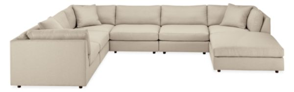 "Linger 158x122"" Seven-Piece Modular Sectional with Ottoman"
