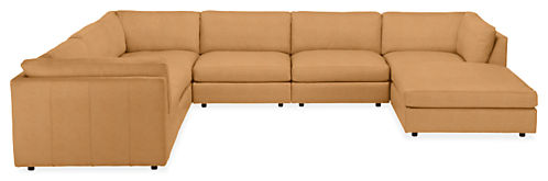 "Linger Custom 158x122"" Seven-Piece Modular Sectional with Ottoman"