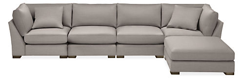 "Mayer 158x86"" Five-Piece Modular Sofa with Ottoman"