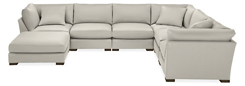 "Mayer 158x122"" Seven-Piece Modular Sectional with Ottoman"