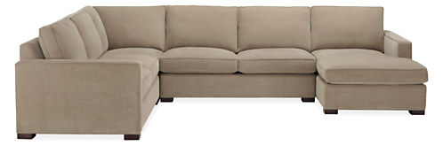 """Morrison Custom 144x112"""" Four-Piece Sectional with Right-Arm Chaise"""