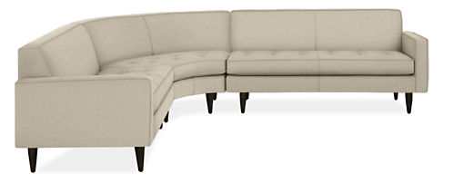 """Reese Custom 107x107"""" Three-Piece Curved Sectional"""