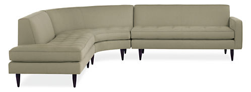 """Reese Custom 115x114"""" Three-Piece Curved Sectional w/Right-Back Sofa"""