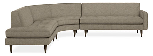"Reese 115x114"" Three-Piece Curved Sectional with Right-Back Sofa"