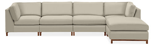 "Stevens 146x74"" Five-Piece Modular Sofa with Ottoman"