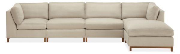 "Stevens 146x74"" Five-Piece Modular Sofa with Ottoman"
