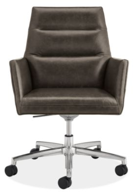 tenley leather office chair - modern office chairs & task chairs