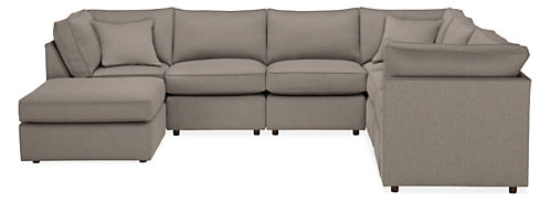 "York 132x101"" Seven-Piece Modular Sectional with Ottoman"