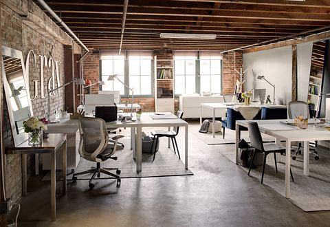 Room & Board designed the space to accommodate six people, plus occasional freelancers. In this photo of the entire space, you can see that every inch of this open office was maximized to be a collaborative workspace.