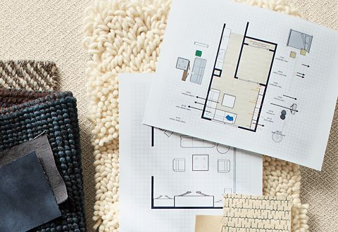 Floor plans, rug samples, fabric swatches and material samples