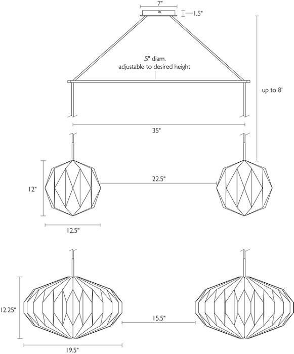 Ball & Saucer shade dimensions