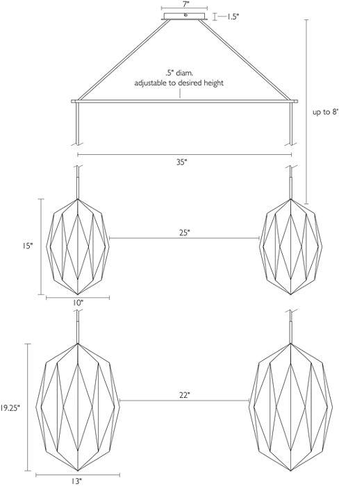 Teardrop shade dimensions