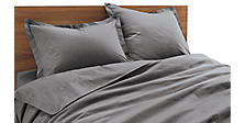 Percale Top-stitch Duvet Cover & Shams in Charcoal