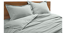 Percale Top-stitch Duvet Cover & Shams in Slate