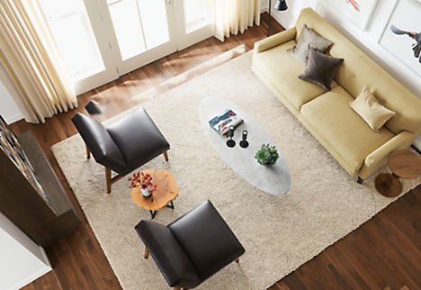 captivating choosing rug size living room | How to Choose a Rug Size - Ideas & Advice - Room & Board