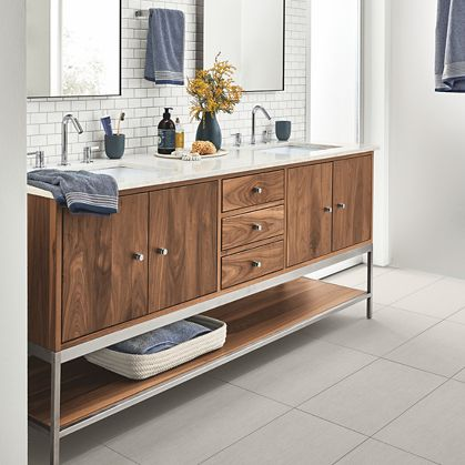Linear Steel Base Bathroom Vanity Cabinets With Top