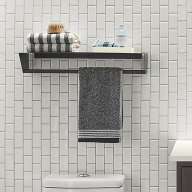 slim wall shelf with towel rack