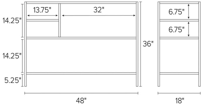 48w 18d 36h outdoor counter table shown